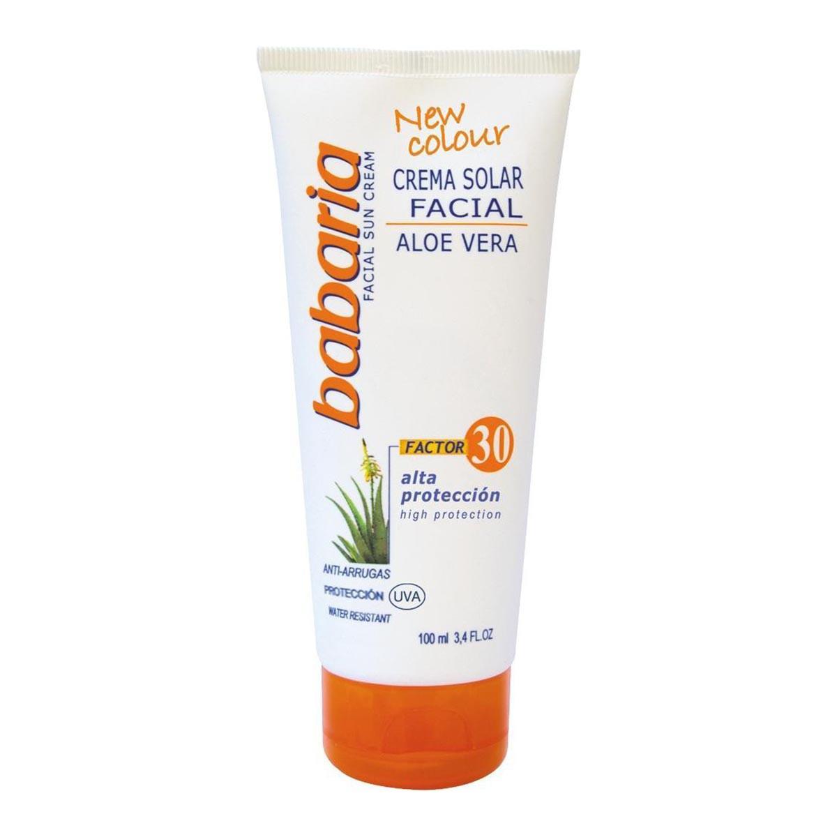 Babaria-fragrances Solar Facial Cream Aloe Vera Factor 30 Anti Wrinkle High Protection 100ml