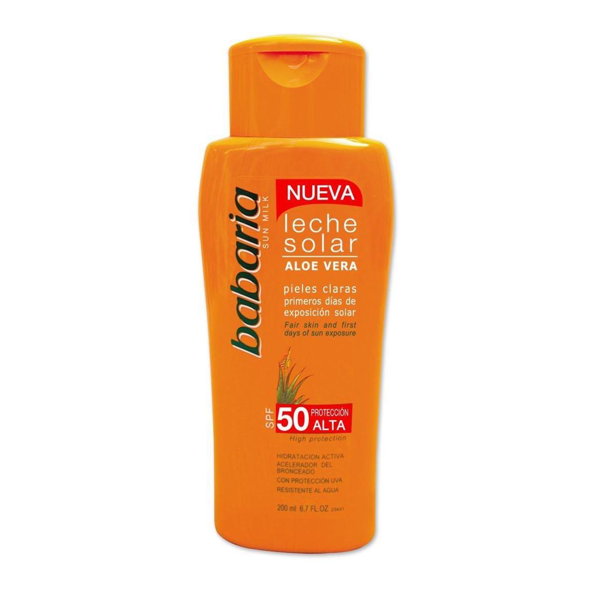 Babaria-fragrances Solar Milk Aloe Vera Clear Skin First Days Of Sun Exposure Spf50 High Protection 200ml